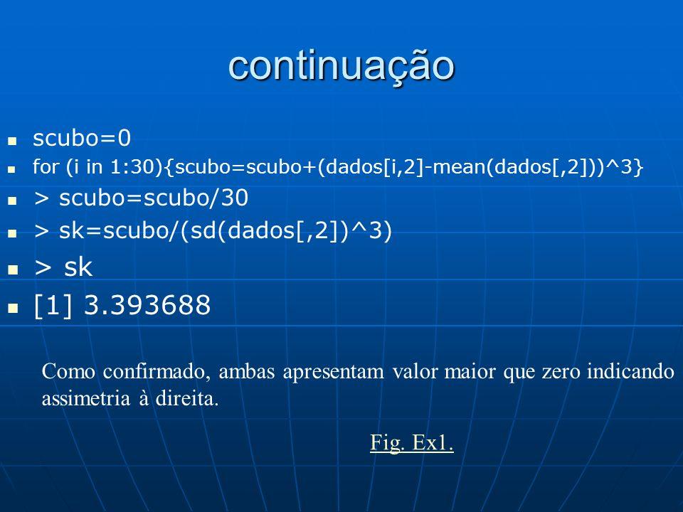 continuação > sk [1] 3.393688 scubo=0 > scubo=scubo/30